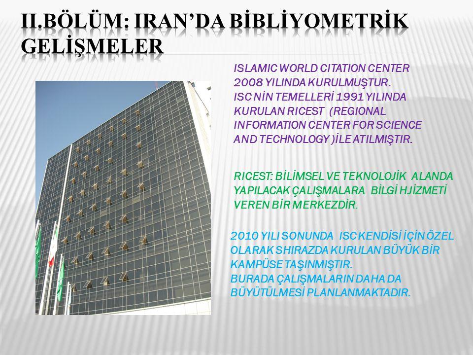 II.BÖLÜM: IRAN'DA BİBLİYOMETRİK GELİŞMELER
