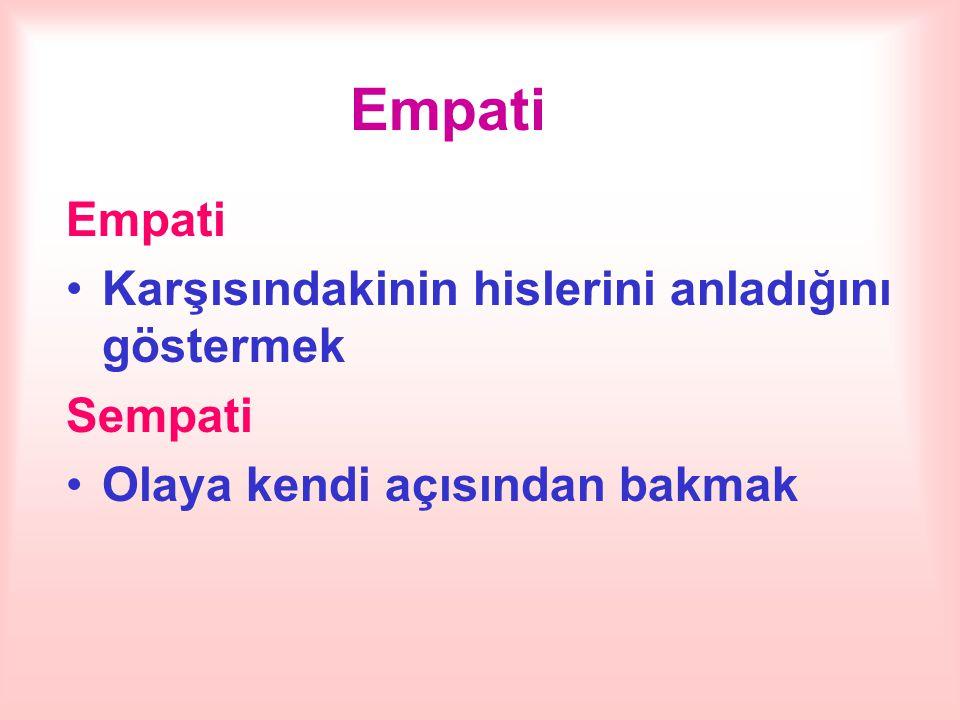Empati Empati Karşısındakinin hislerini anladığını göstermek Sempati