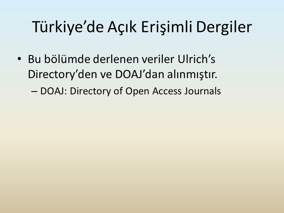 Türkiye'de Açık Erişimli Dergiler