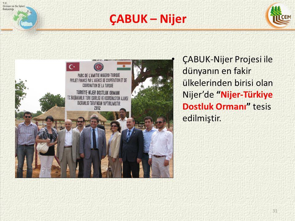 ÇABUK – Nijer ÇABUK-Nijer Projesi ile dünyanın en fakir ülkelerinden birisi olan Nijer'de Nijer-Türkiye Dostluk Ormanı tesis edilmiştir.
