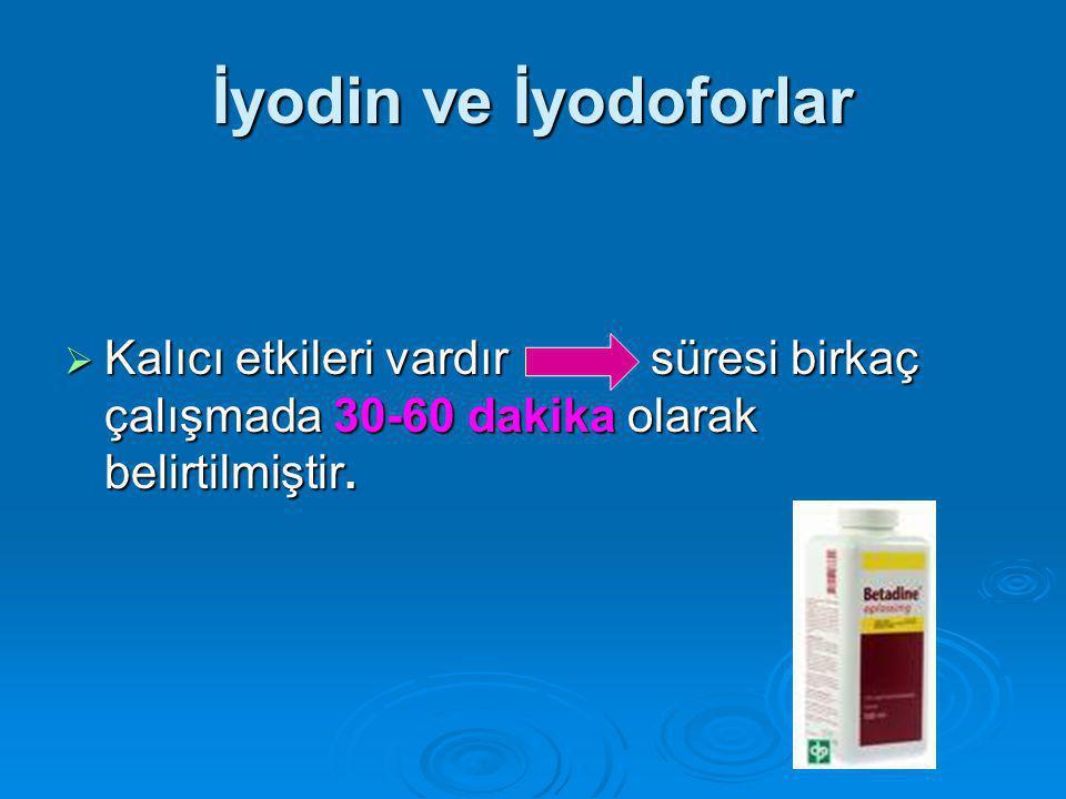 İyodin ve İyodoforlar Kalıcı etkileri vardır süresi birkaç çalışmada 30-60 dakika olarak belirtilmiştir.
