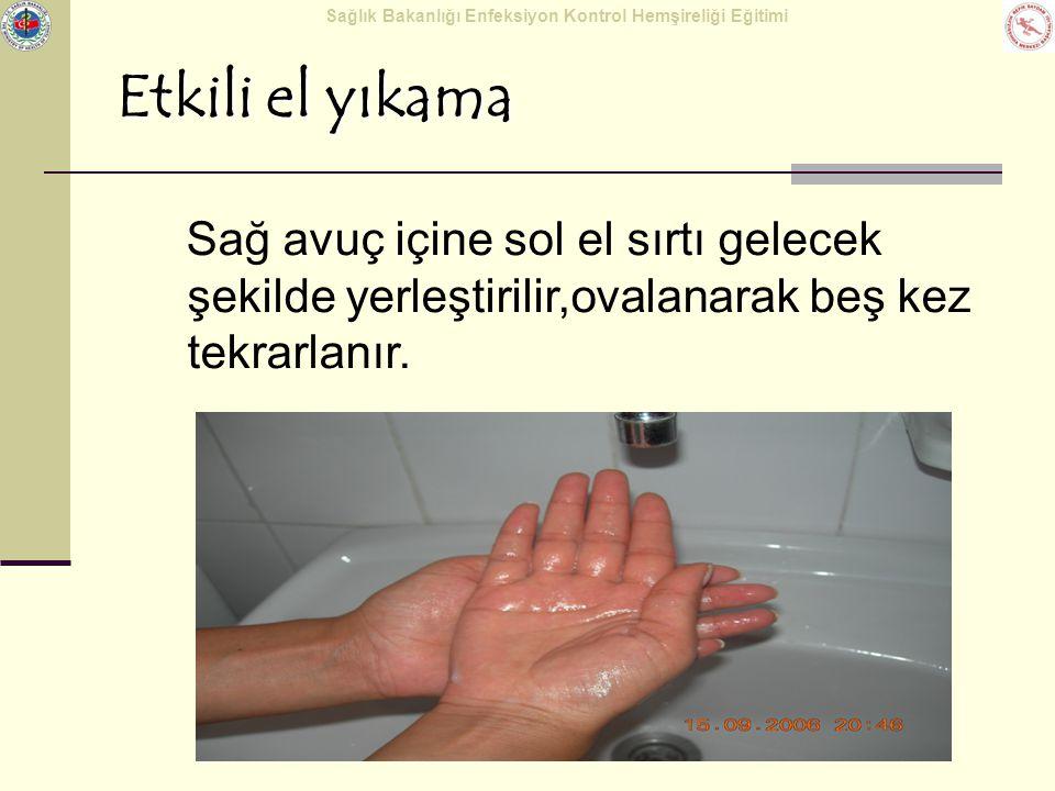 Etkili el yıkama Sağ avuç içine sol el sırtı gelecek şekilde yerleştirilir,ovalanarak beş kez tekrarlanır.