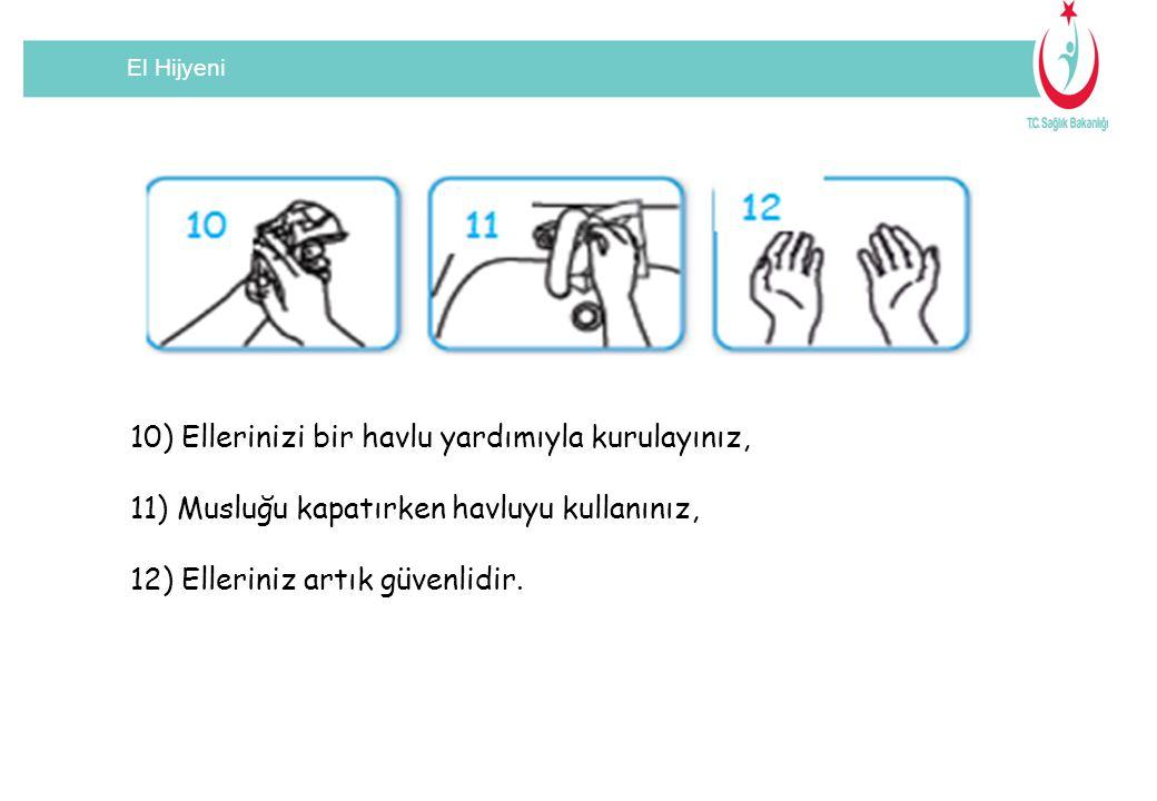 10) Ellerinizi bir havlu yardımıyla kurulayınız,