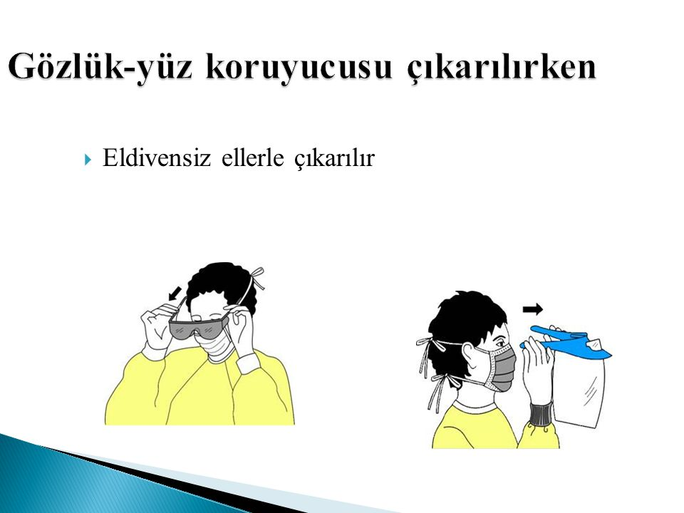 Gözlük-yüz koruyucusu çıkarılırken