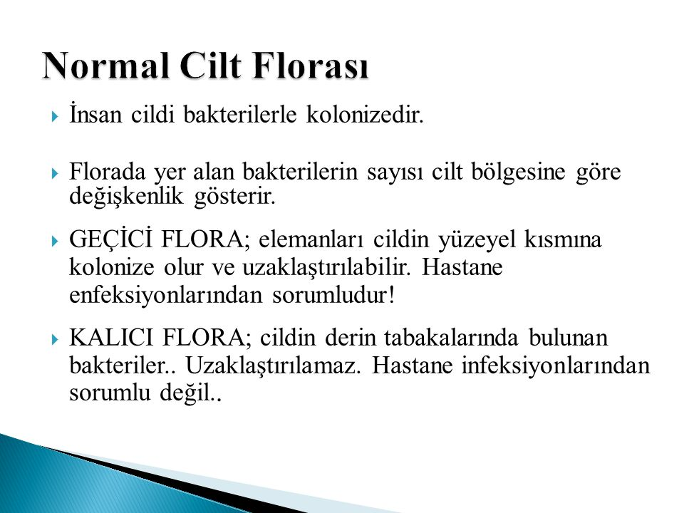Normal Cilt Florası İnsan cildi bakterilerle kolonizedir.