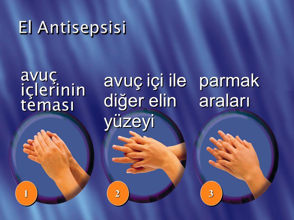 avuç içi ile diğer elin yüzeyi parmak araları