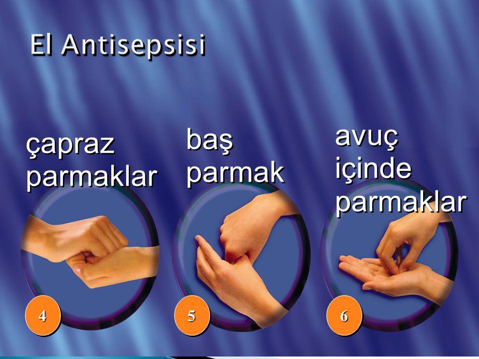 El Antisepsisi avuç içinde parmaklar baş parmak çapraz parmaklar 4 5 6