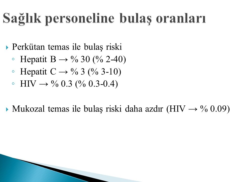 Sağlık personeline bulaş oranları