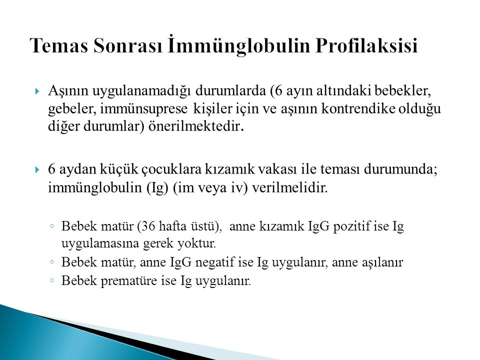Temas Sonrası İmmünglobulin Profilaksisi