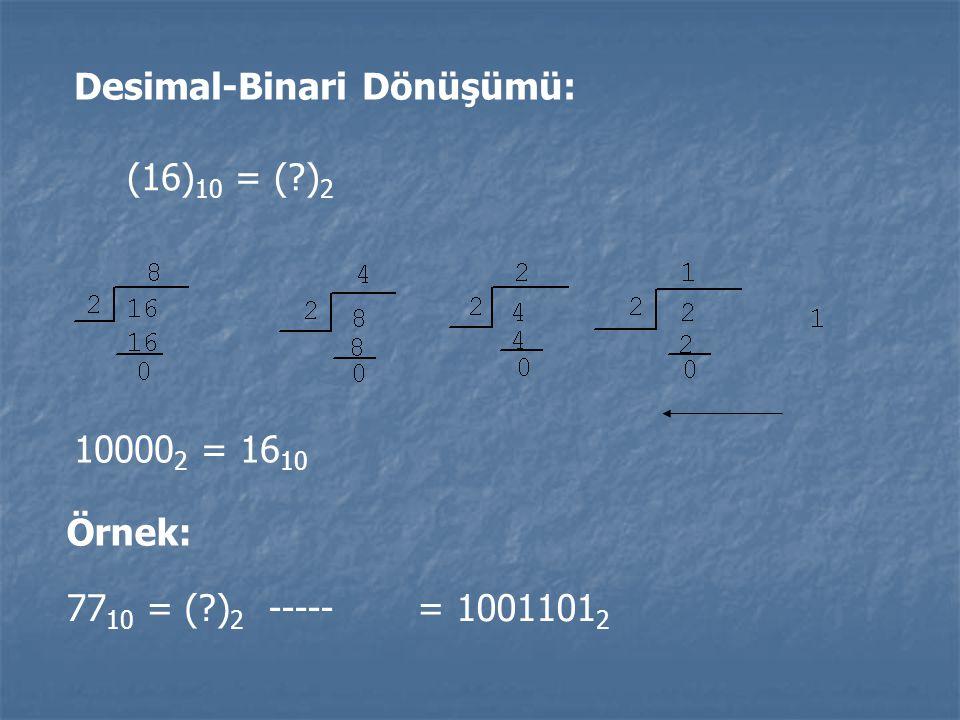 Desimal-Binari Dönüşümü: