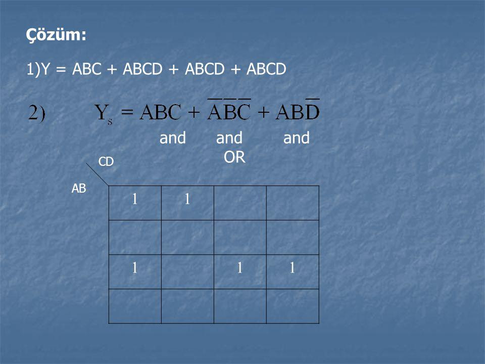Y = ABC + ABCD + ABCD + ABCD