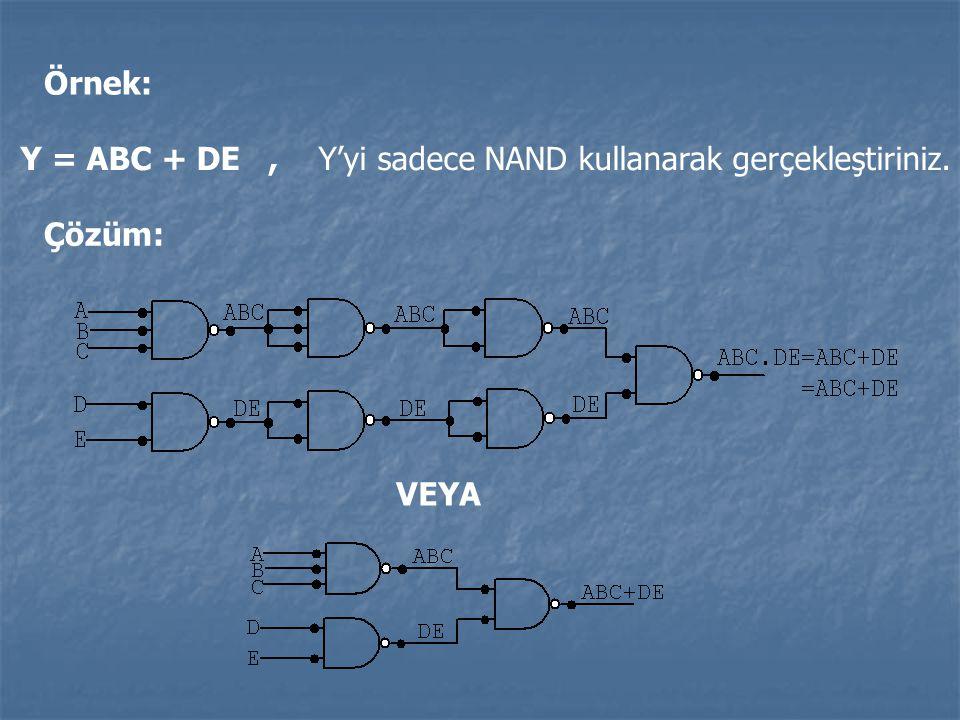 Örnek: Y = ABC + DE , Y'yi sadece NAND kullanarak gerçekleştiriniz. Çözüm: VEYA