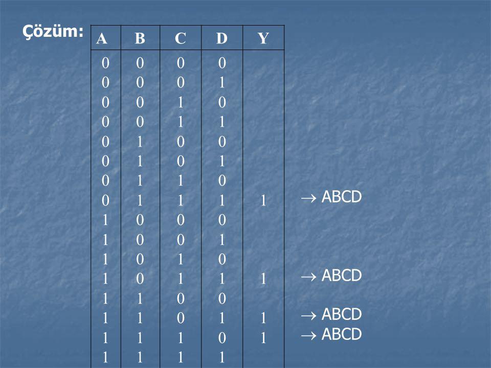Çözüm: A B C D Y 1  ABCD