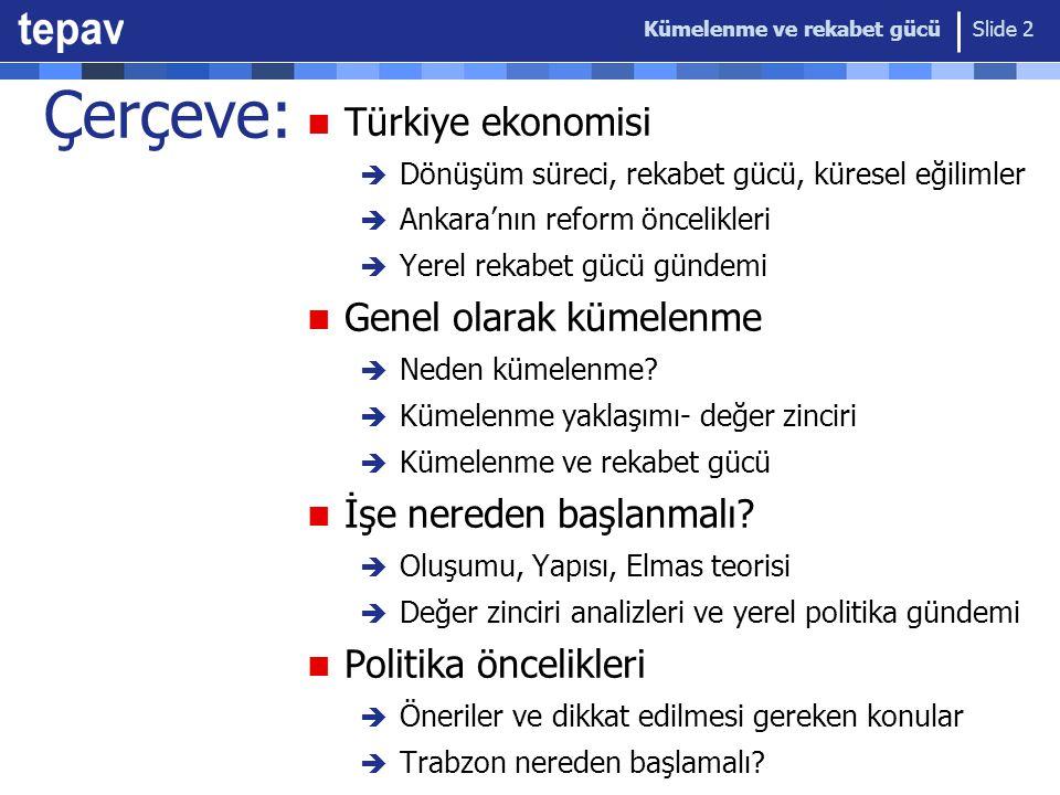 Çerçeve: Türkiye ekonomisi Genel olarak kümelenme