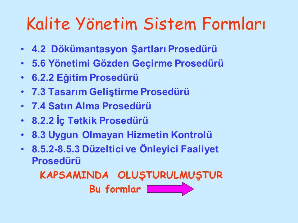 Kalite Yönetim Sistem Formları