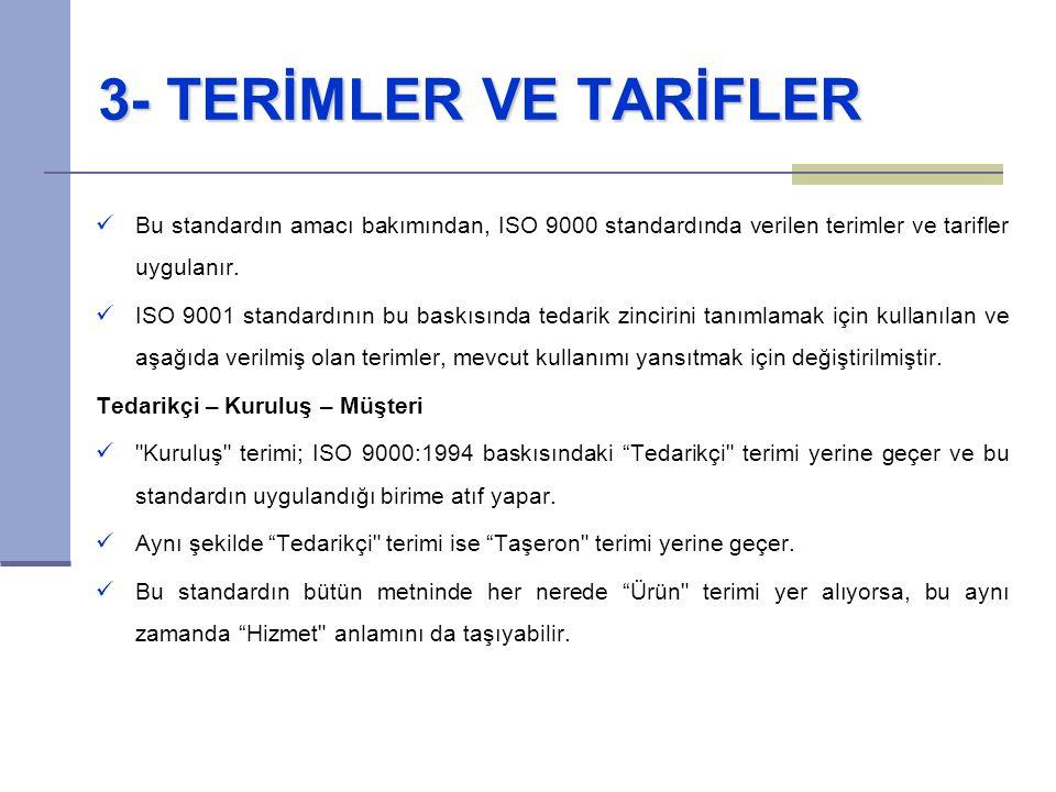 3- TERİMLER VE TARİFLER Bu standardın amacı bakımından, ISO 9000 standardında verilen terimler ve tarifler uygulanır.