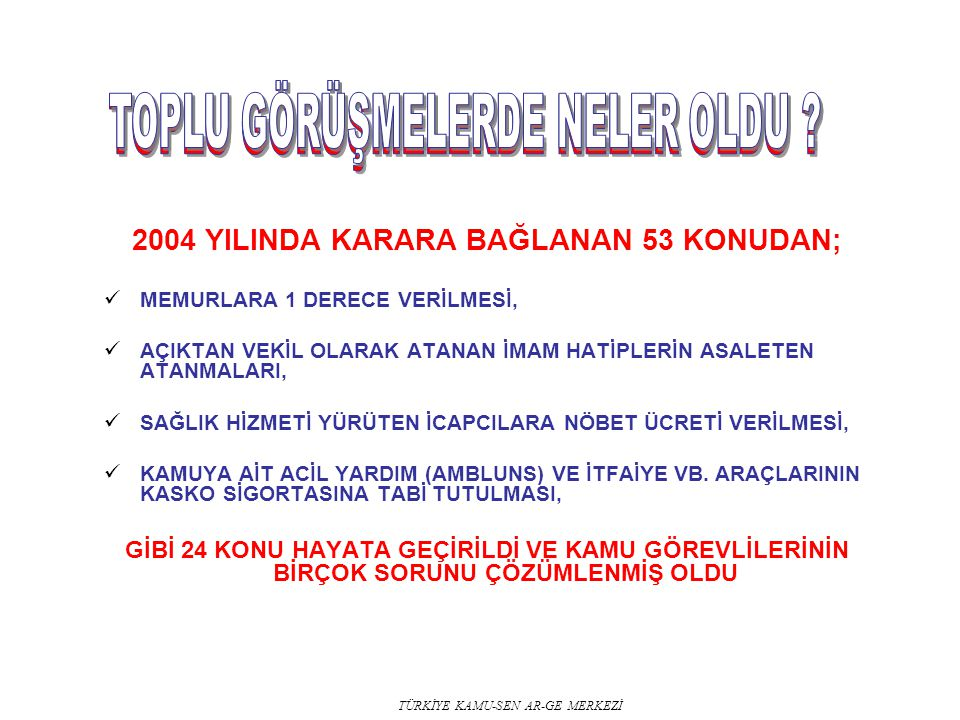 2004 YILINDA KARARA BAĞLANAN 53 KONUDAN;