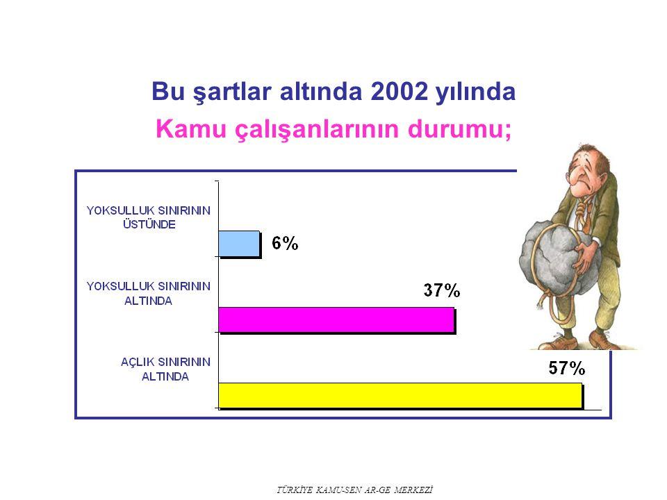 Bu şartlar altında 2002 yılında Kamu çalışanlarının durumu;