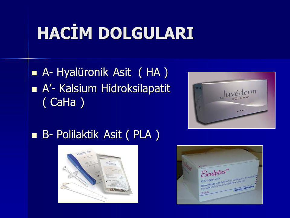 HACİM DOLGULARI A- Hyalüronik Asit ( HA )