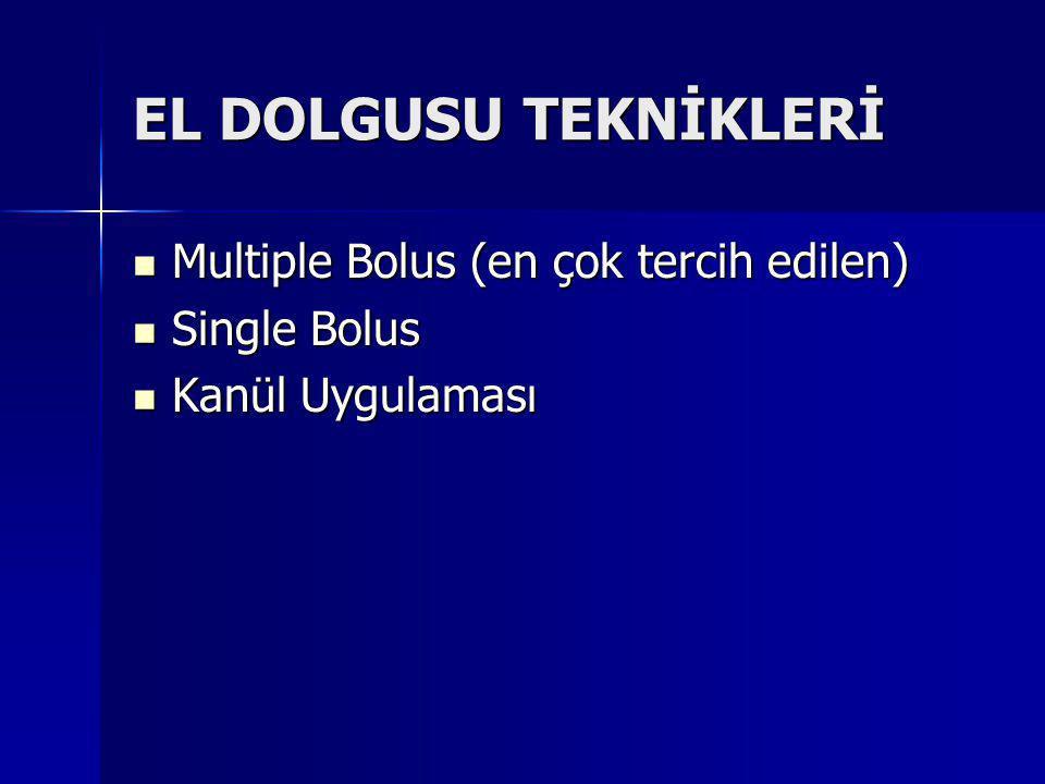 EL DOLGUSU TEKNİKLERİ Multiple Bolus (en çok tercih edilen)
