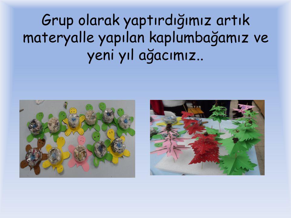 Grup olarak yaptırdığımız artık materyalle yapılan kaplumbağamız ve yeni yıl ağacımız..