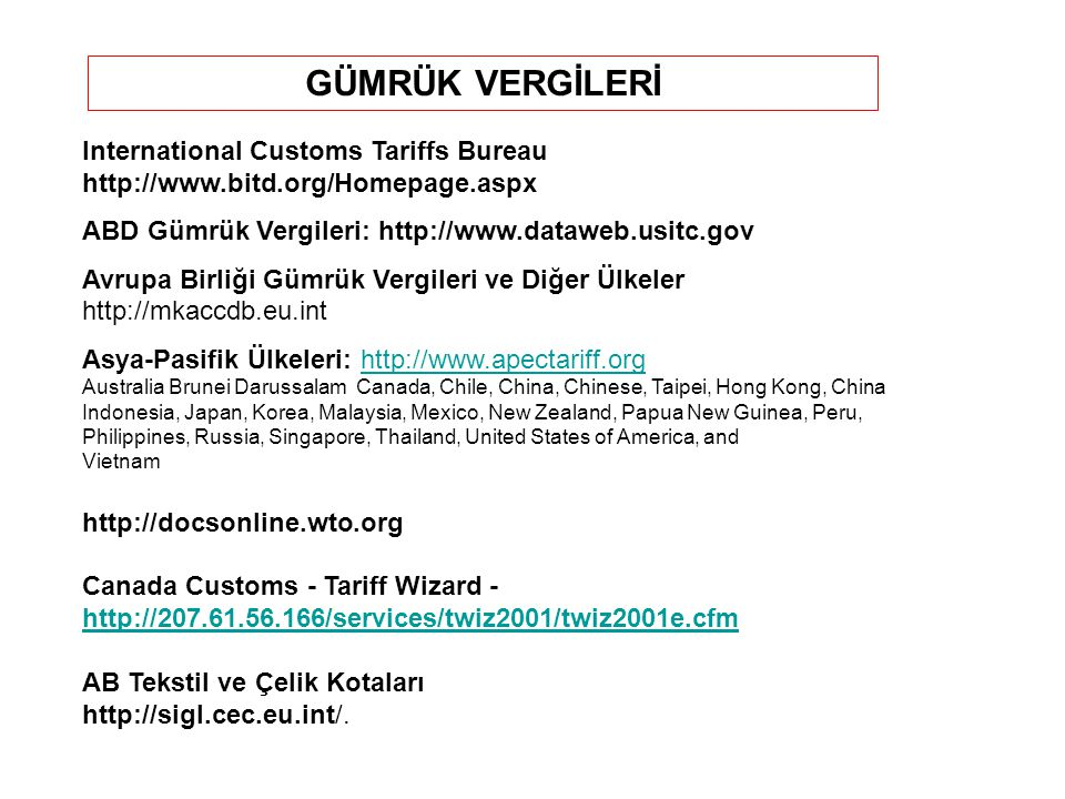 GÜMRÜK VERGİLERİ International Customs Tariffs Bureau   ABD Gümrük Vergileri: