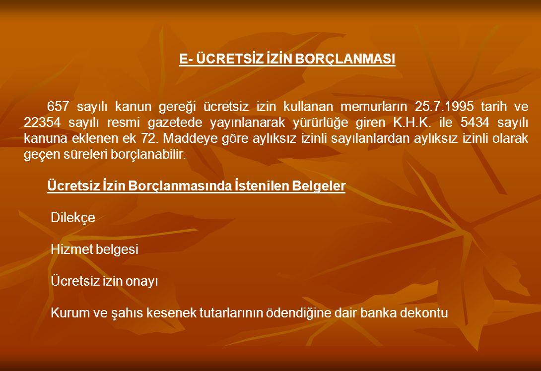 ASKERLİK BORÇLANMASI :