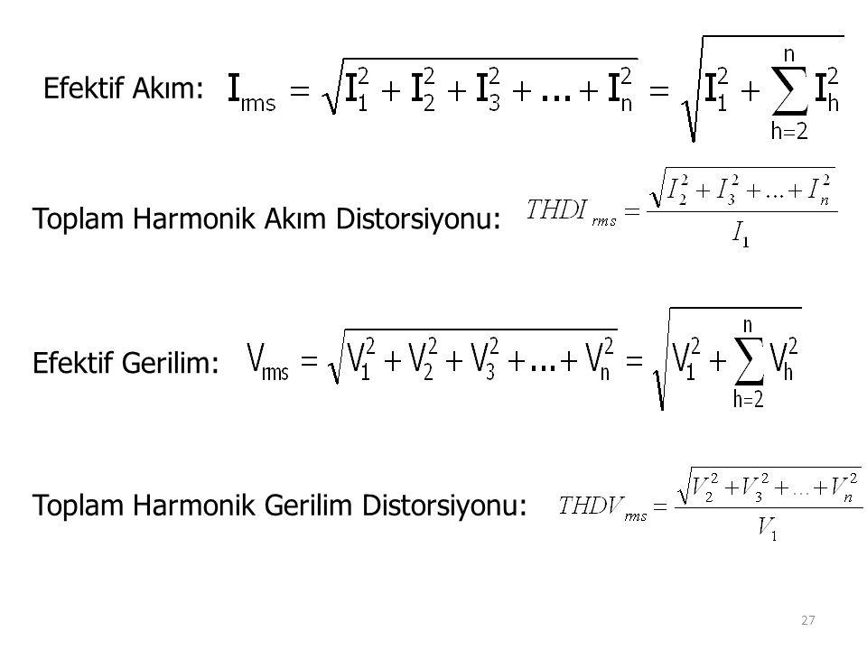Efektif Akım: Toplam Harmonik Akım Distorsiyonu: Efektif Gerilim: Toplam Harmonik Gerilim Distorsiyonu: