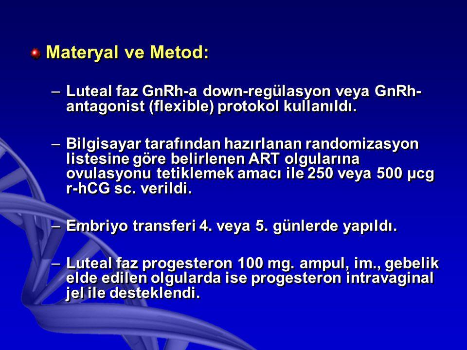 Materyal ve Metod: Luteal faz GnRh-a down-regülasyon veya GnRh-antagonist (flexible) protokol kullanıldı.