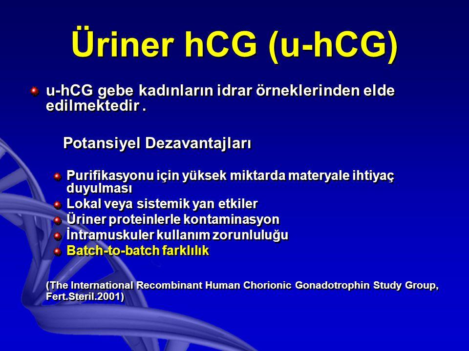 Üriner hCG (u-hCG) u-hCG gebe kadınların idrar örneklerinden elde edilmektedir . Potansiyel Dezavantajları.