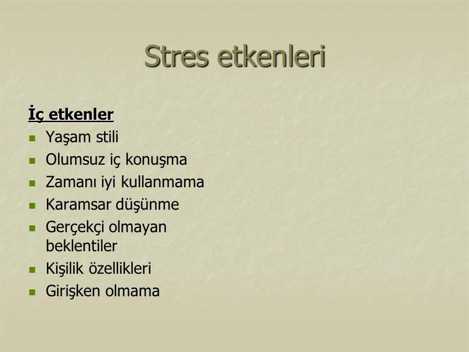 Stres etkenleri İç etkenler Yaşam stili Olumsuz iç konuşma