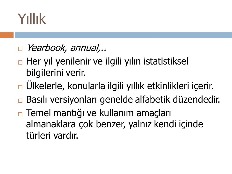 Yıllık Yearbook, annual,..