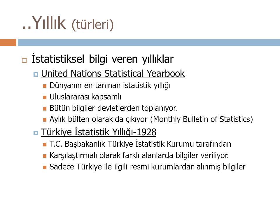 ..Yıllık (türleri) İstatistiksel bilgi veren yıllıklar