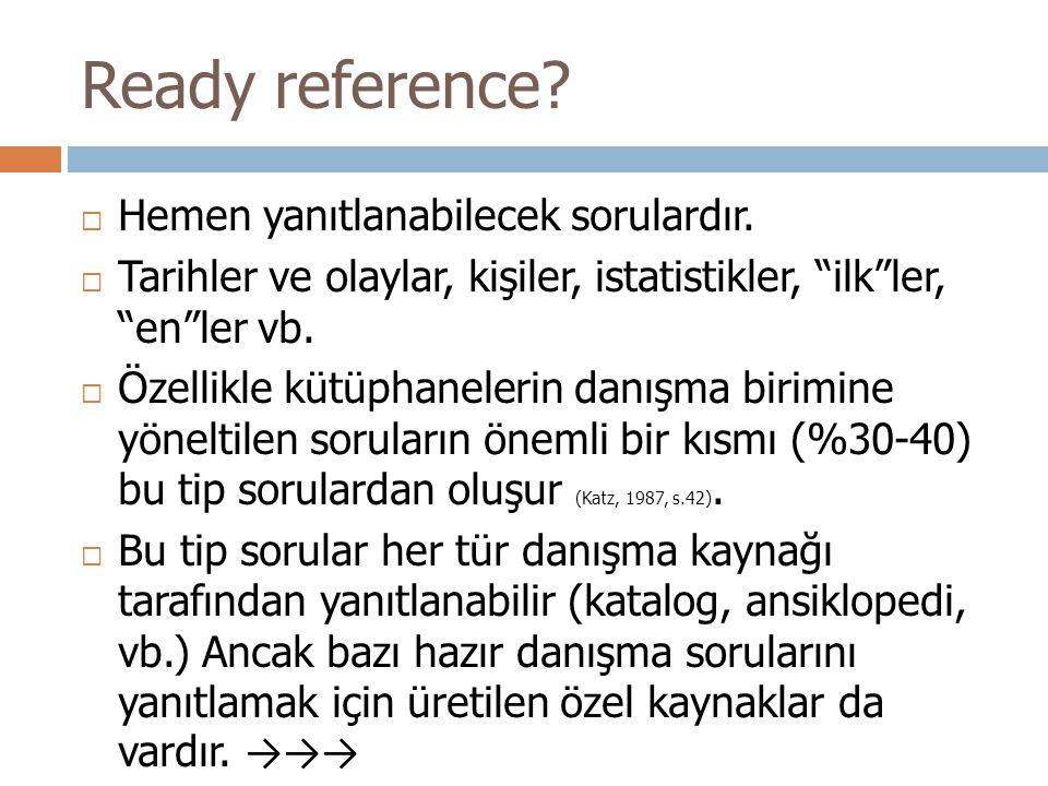 Ready reference Hemen yanıtlanabilecek sorulardır.
