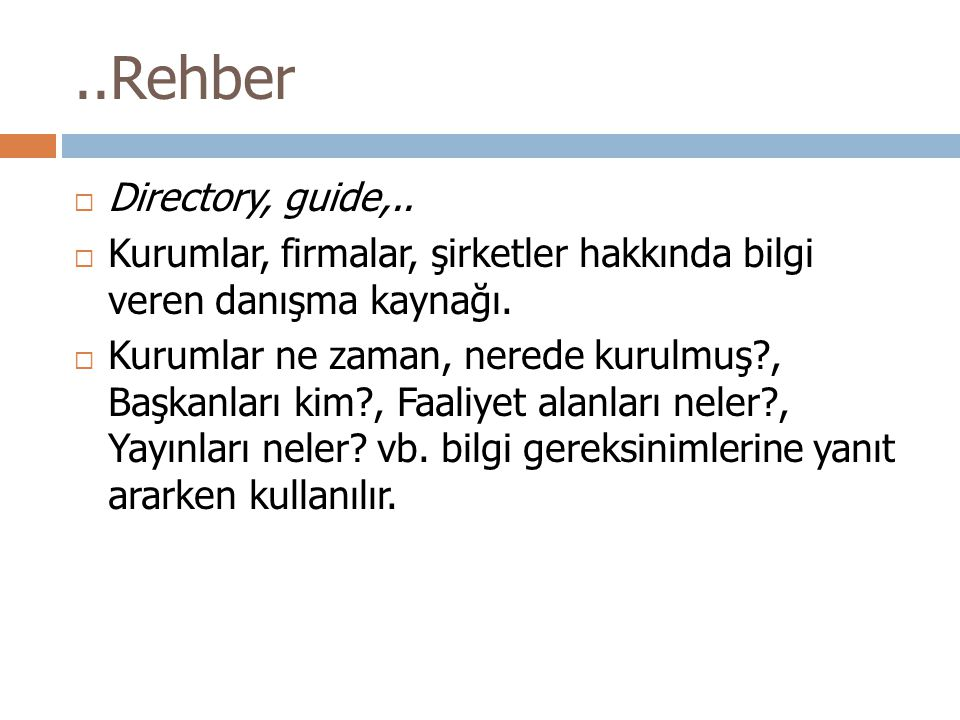 ..Rehber Directory, guide,..