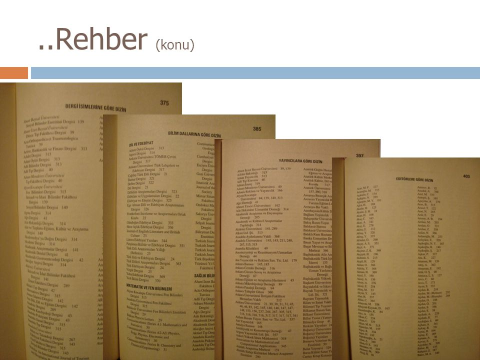 ..Rehber (konu) Türkiye Akademik Dergiler Rehberi ne ait dizinler.