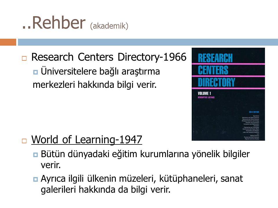 ..Rehber (akademik) Research Centers Directory-1966