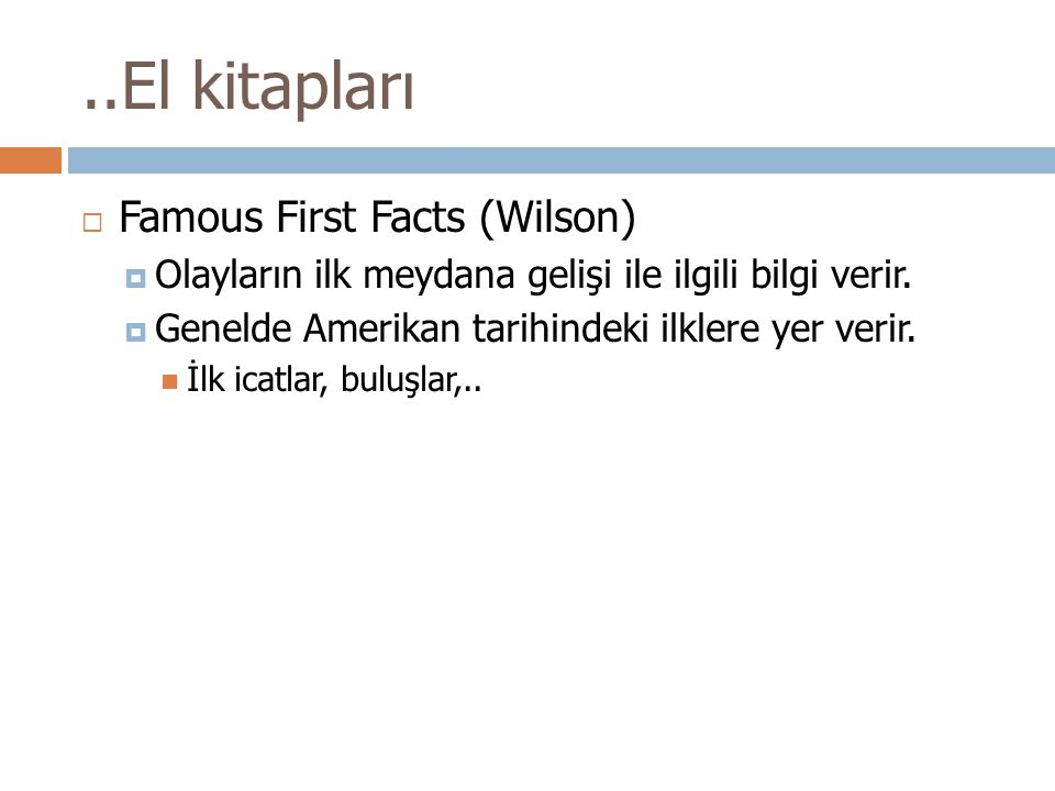 ..El kitapları Famous First Facts (Wilson)