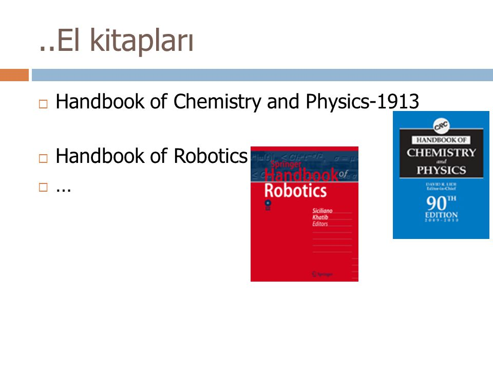 ..El kitapları Handbook of Chemistry and Physics-1913