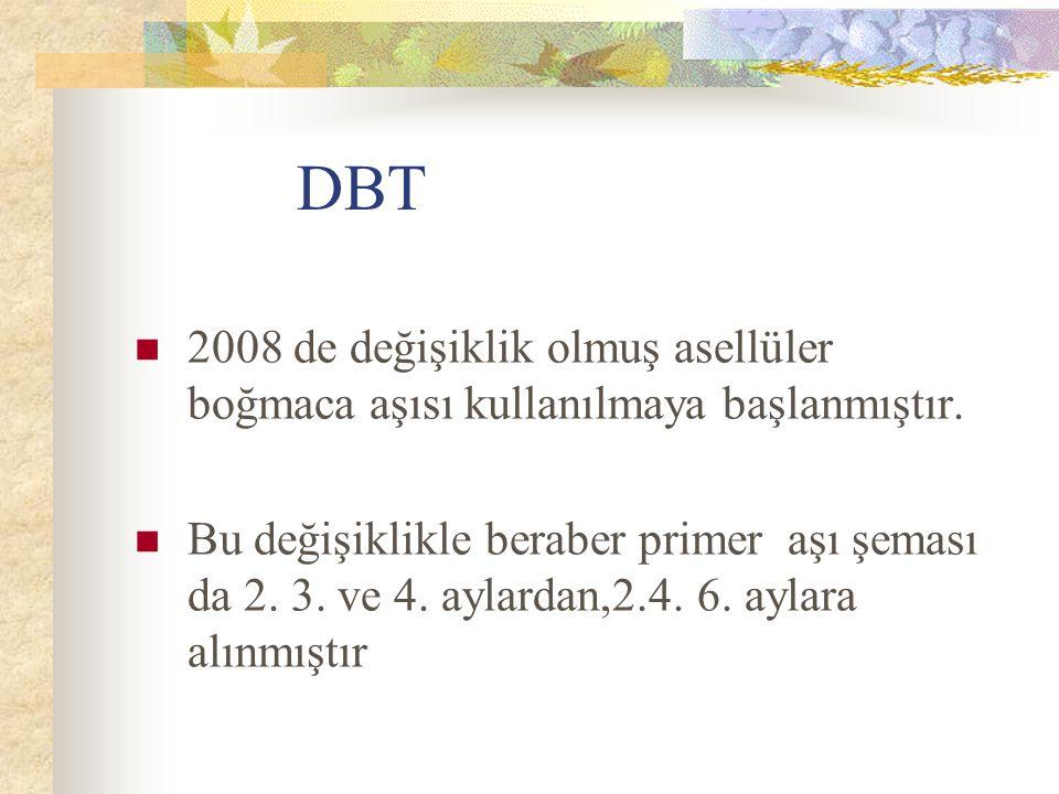 DBT 2008 de değişiklik olmuş asellüler boğmaca aşısı kullanılmaya başlanmıştır.