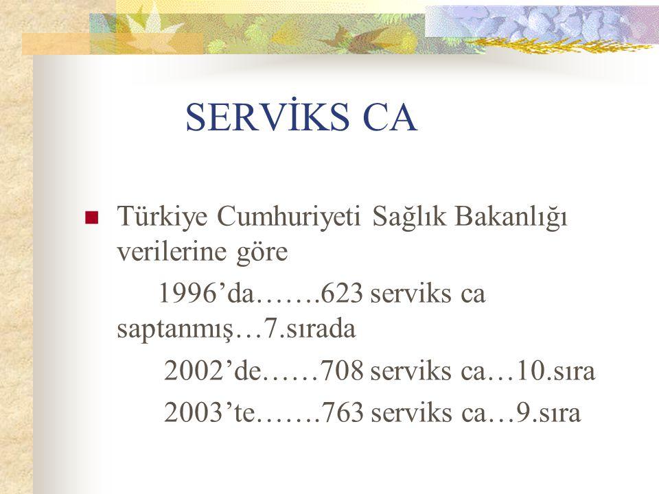 SERVİKS CA Türkiye Cumhuriyeti Sağlık Bakanlığı verilerine göre