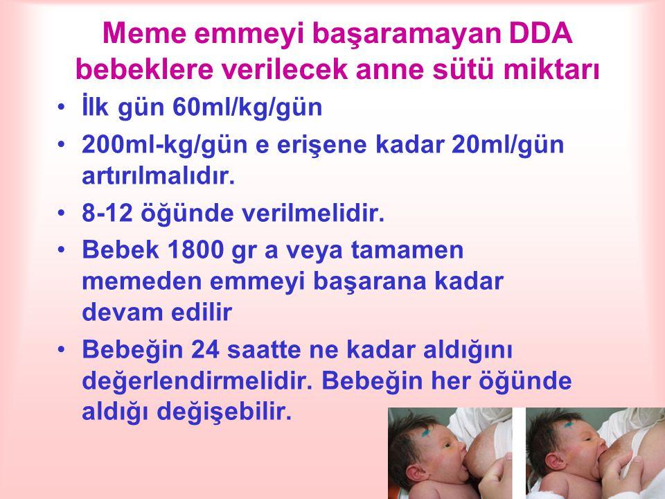 Meme emmeyi başaramayan DDA bebeklere verilecek anne sütü miktarı