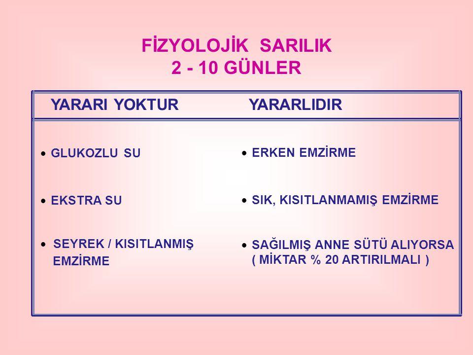 FİZYOLOJİK SARILIK 2 - 10 GÜNLER