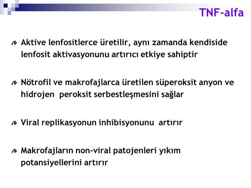 TNF-alfa Aktive lenfositlerce üretilir, aynı zamanda kendiside lenfosit aktivasyonunu artırıcı etkiye sahiptir.