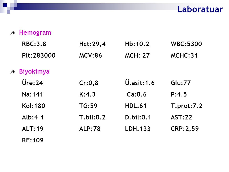 Laboratuar Hemogram RBC:3.8 Hct:29,4 Hb:10.2 WBC:5300