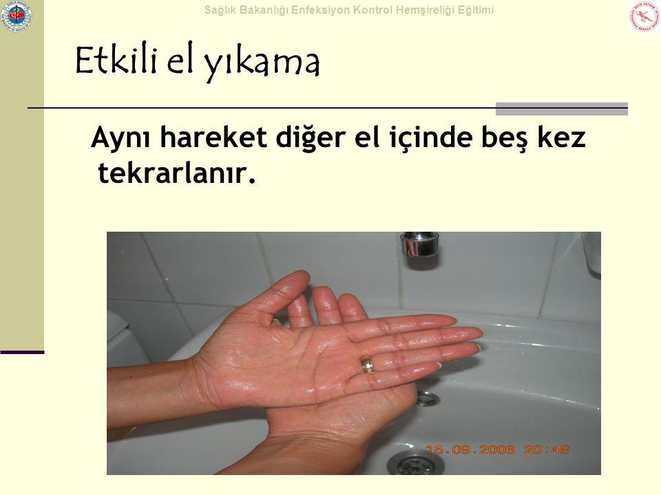 Etkili el yıkama Aynı hareket diğer el içinde beş kez tekrarlanır.
