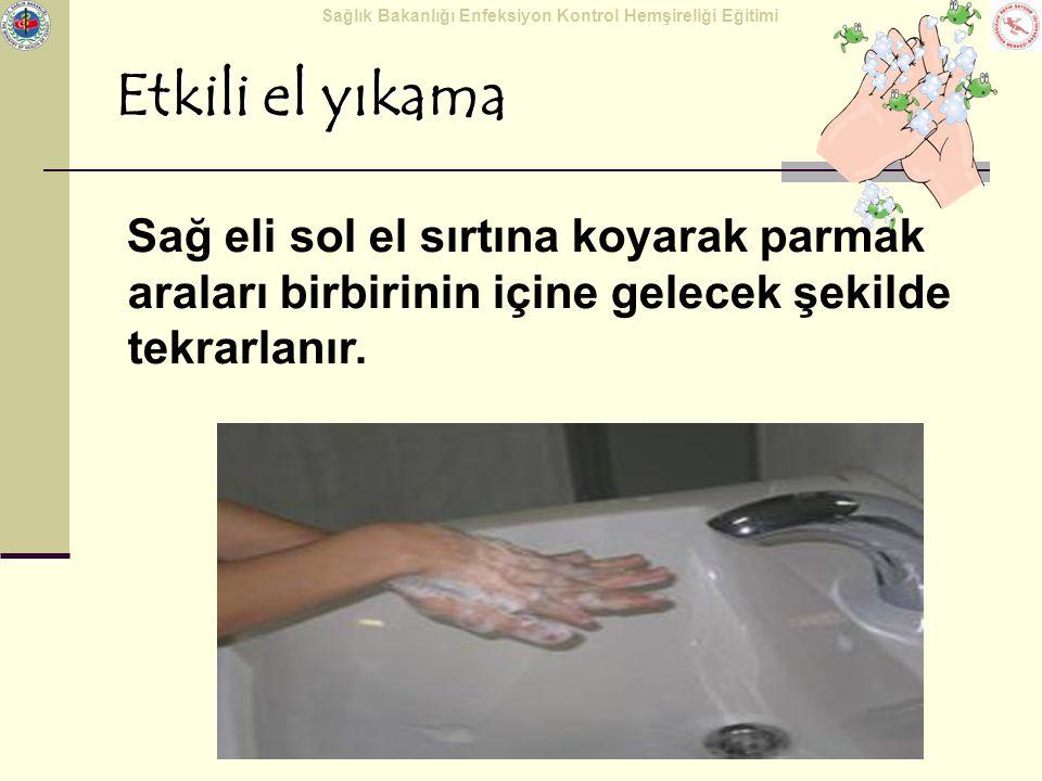 Etkili el yıkama Sağ eli sol el sırtına koyarak parmak araları birbirinin içine gelecek şekilde tekrarlanır.