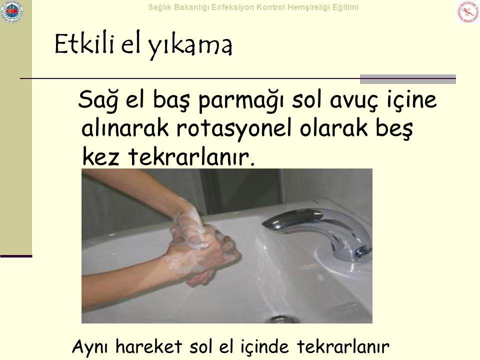 Etkili el yıkama Sağ el baş parmağı sol avuç içine alınarak rotasyonel olarak beş kez tekrarlanır.