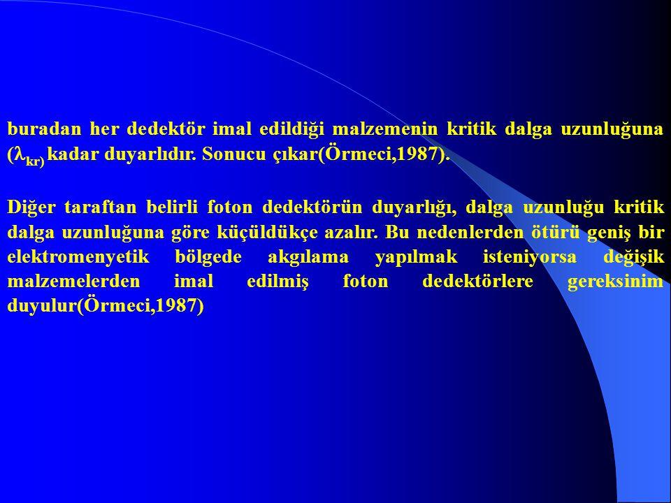 buradan her dedektör imal edildiği malzemenin kritik dalga uzunluğuna (kr) kadar duyarlıdır. Sonucu çıkar(Örmeci,1987).