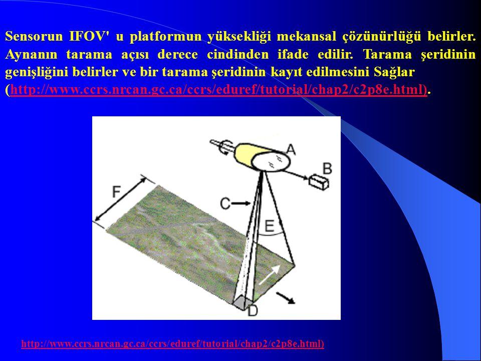 Sensorun IFOV u platformun yüksekliği mekansal çözünürlüğü belirler